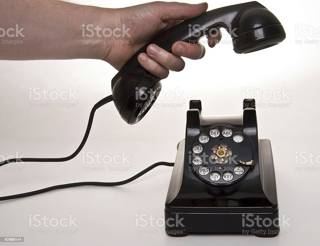 Hanging up the phone stock photo