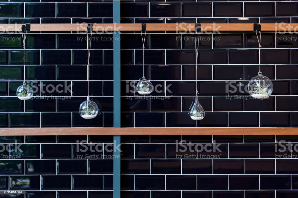 Hanging vase on a wall for decoration stock photo