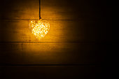 Hanging warm glowing orange heart