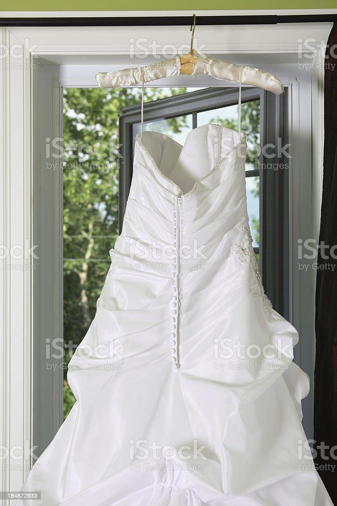 Hanging Wedding Dress royalty-free stock photo