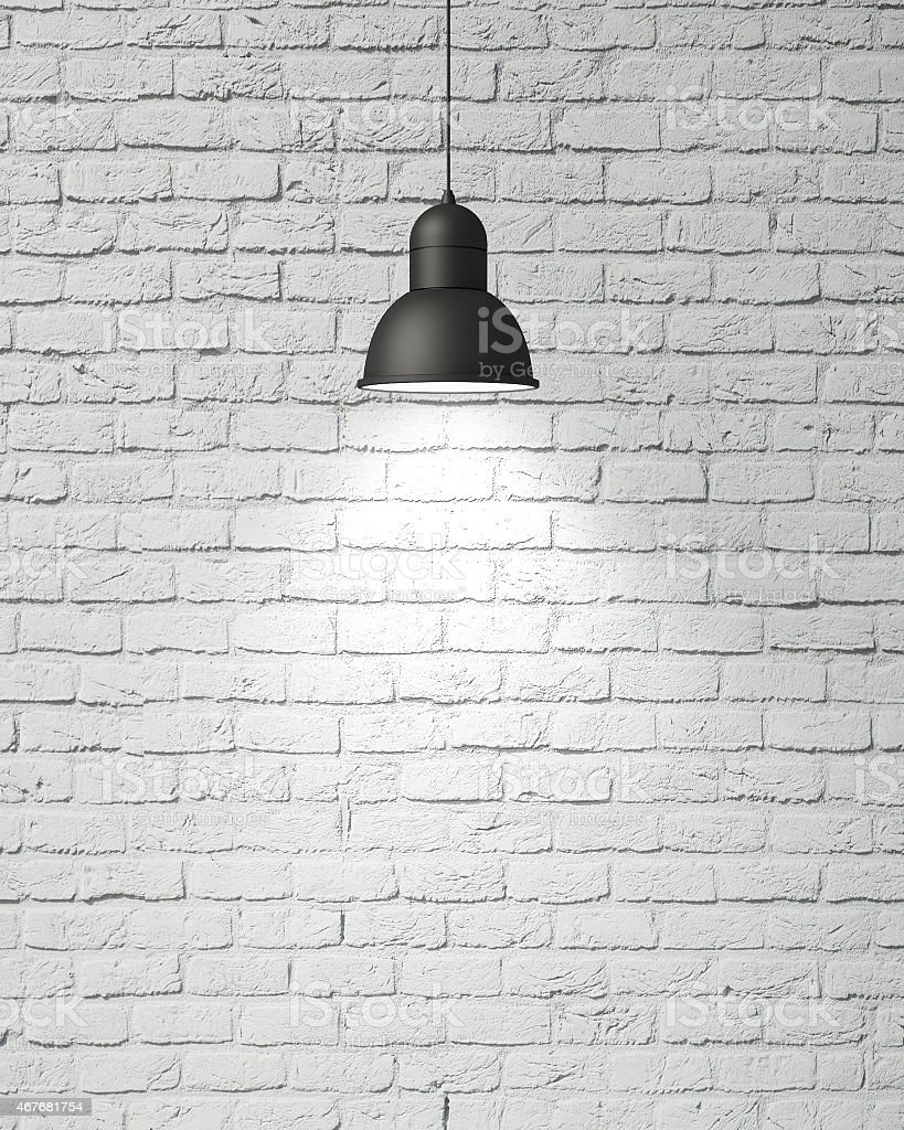 hanging white lamp with shadow on vintage stock photo