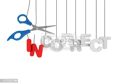 INCORRECT-CORRECT Hanging Word with Scissors - 3D Rendering