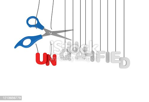 UNQUALIFIED - QUALIFIED Hanging Word with Scissors - 3D Rendering