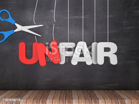 UNFAIR-FAIR Hanging Word with Scissors on Chalkboard Background - 3D Rendering