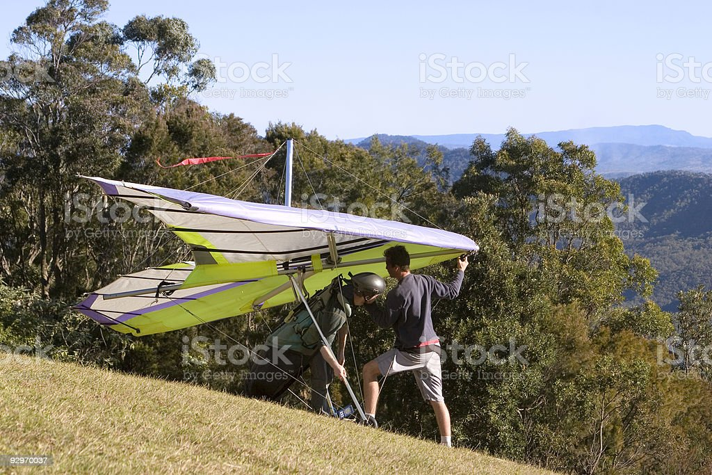 Hanglide takeoff from Mt Tamborine royalty-free stock photo