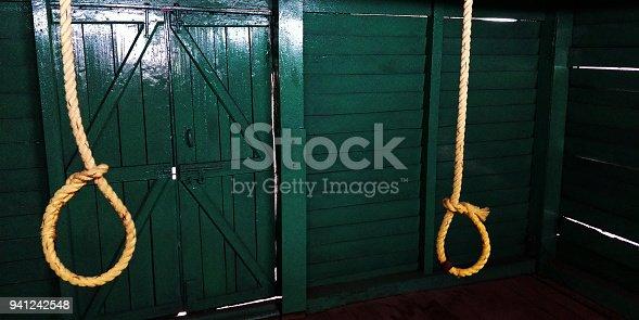 Hangman's noose handing in the jail.