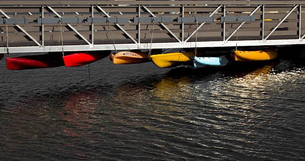 hangng kayaks stock photo