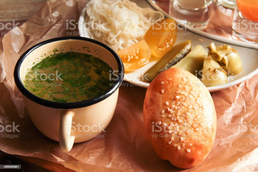 hang-over collection,soup,pickles royalty-free stock photo