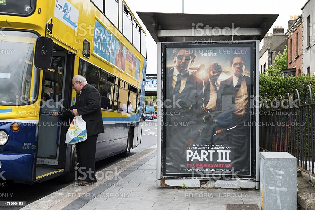 Hangover movie ad at bus stop in Dublin, Ireland stock photo