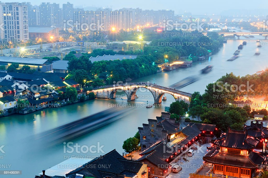 Hangzhou canal gongchen bridge at dusk stock photo