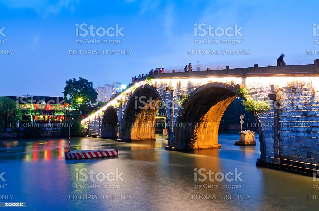 Hangzhou gongchen bridge at dusk the beauty scenery stock photo