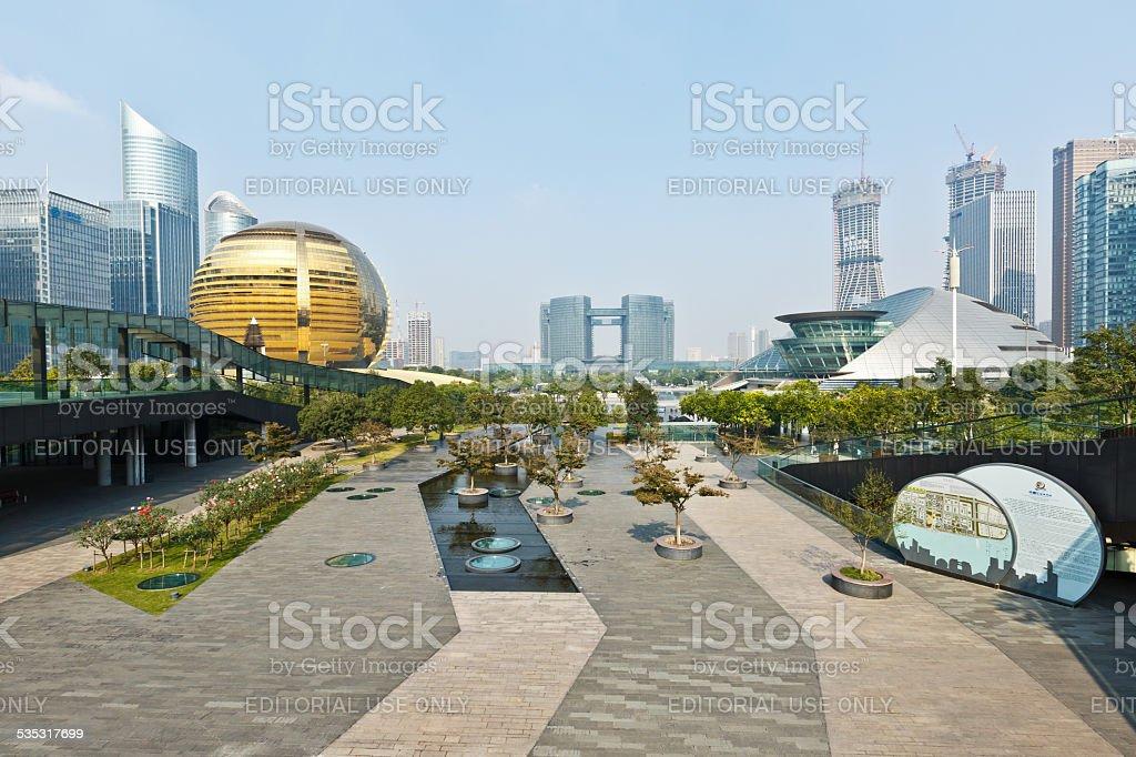 Hangzhou qianjiang new city central business district stock photo