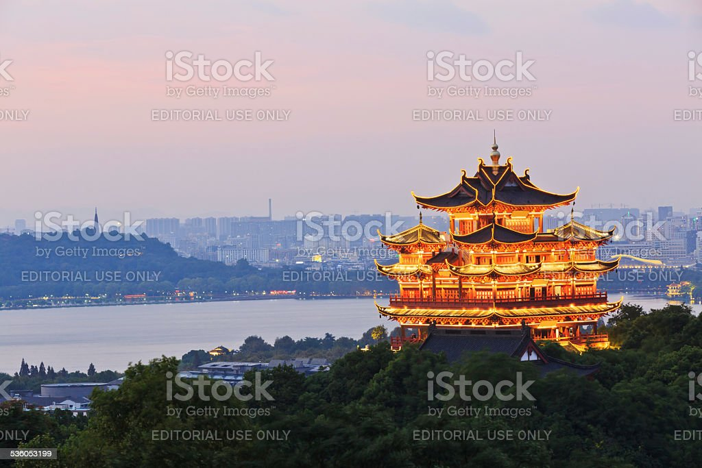 Hangzhou traditional architecture Chenghuang Ge Scenery in at dusk,china stock photo