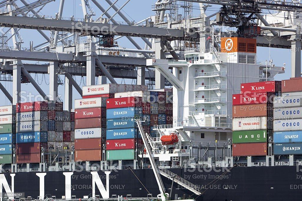 Hanjin container ship stock photo