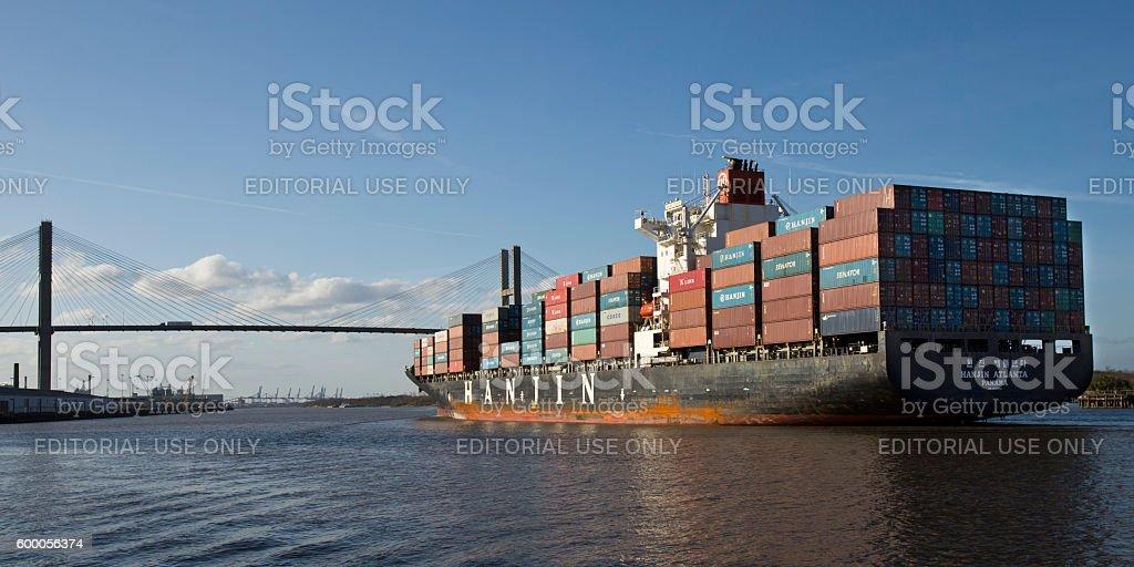 Hanjin Shipping Co. cargo ship in Savannah Georgia stock photo