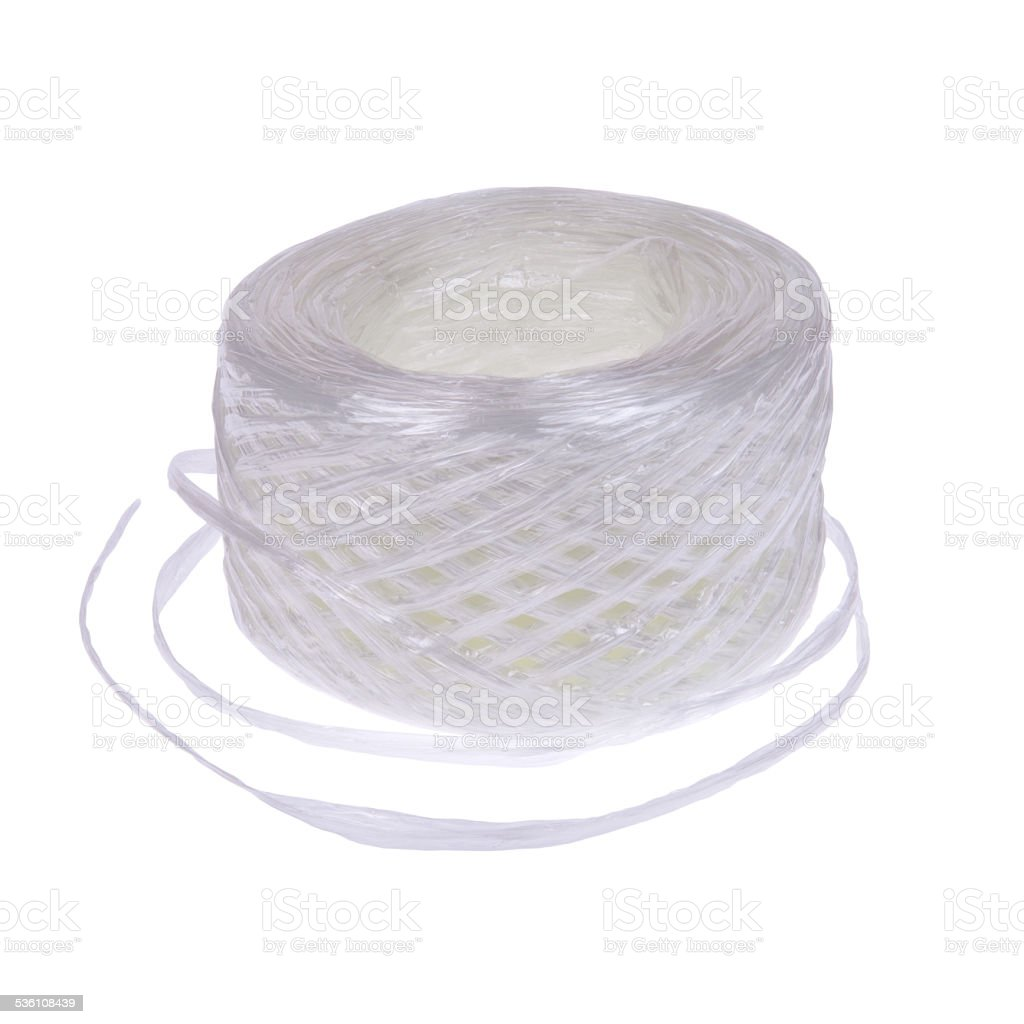 Hank of plastic rope isolated on white background stock photo