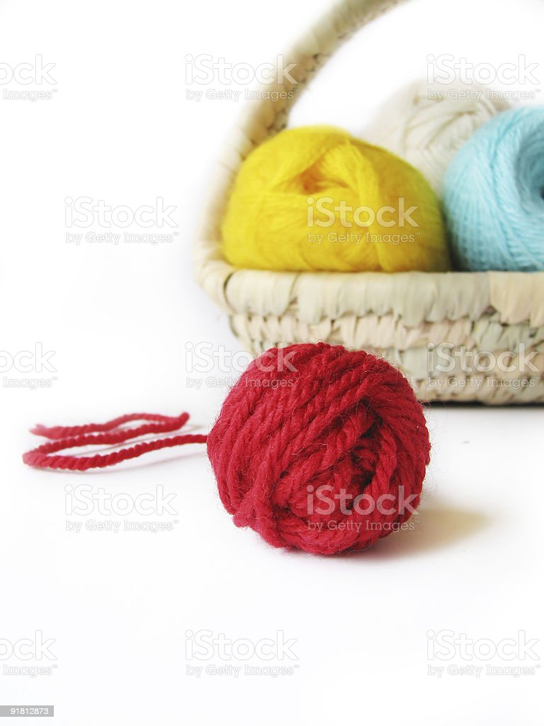 hank of the yarn for knitting in basket royalty-free stock photo
