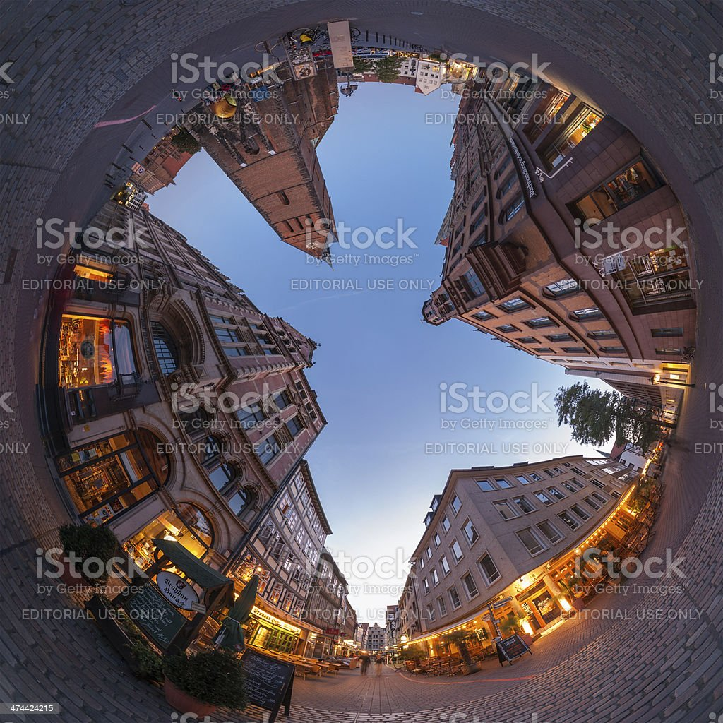 Hannover. Fisheye view of Marktplatz. stock photo