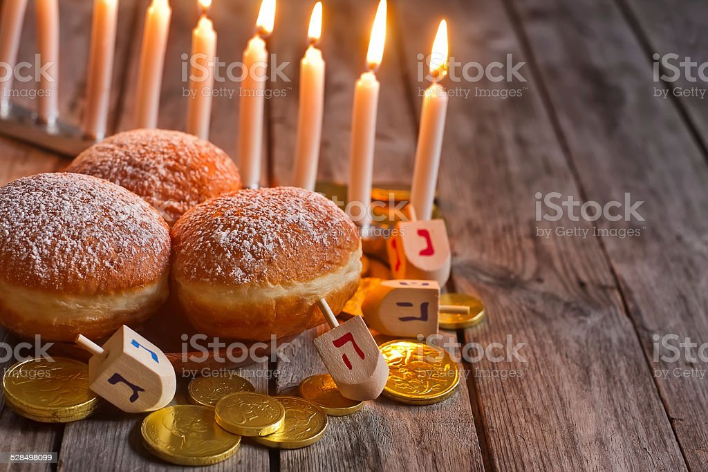Hannukah doughnuts background stock photo