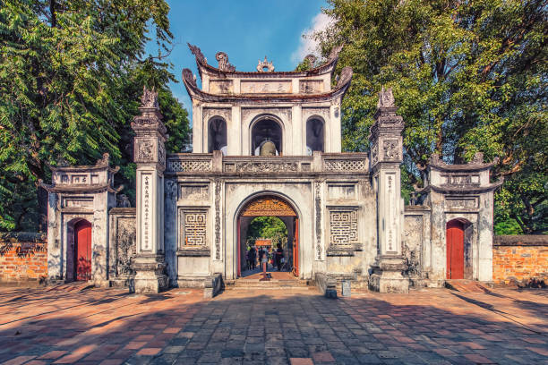 Hanoi city in daytime Temple of Literature in Hanoi, Vietnam hanoi stock pictures, royalty-free photos & images