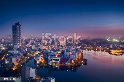 View over Hanoi at twilight.