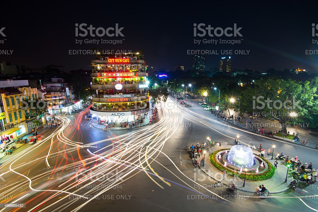 Hanoi old quarter at night stock photo