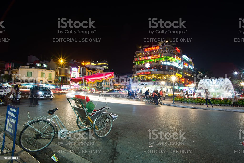Hanoi old quarter at night. stock photo
