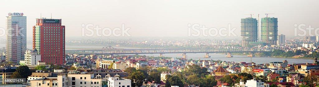 Hanoi red river panorama with Chuong Duong bridge stock photo