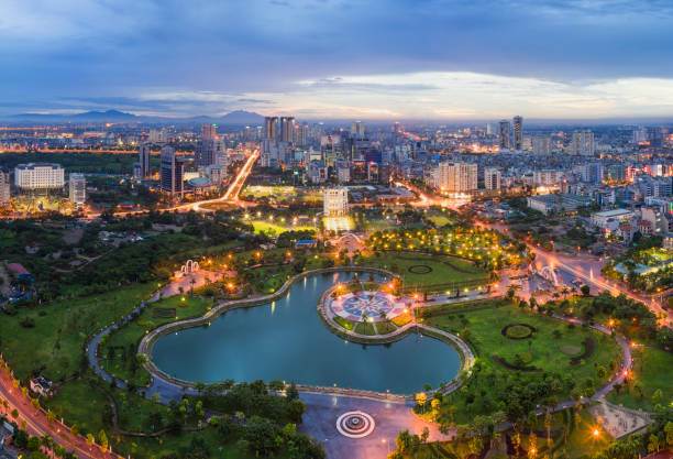 Hanoi skyline cityscape at twilight period. Cau Giay park, west of Hanoi Hanoi skyline cityscape at twilight period. Cau Giay park, west of Hanoi hanoi stock pictures, royalty-free photos & images