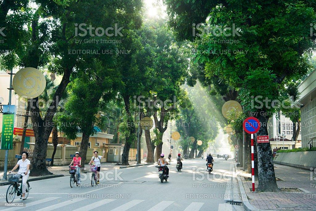 Hanoi town street in early morning stock photo