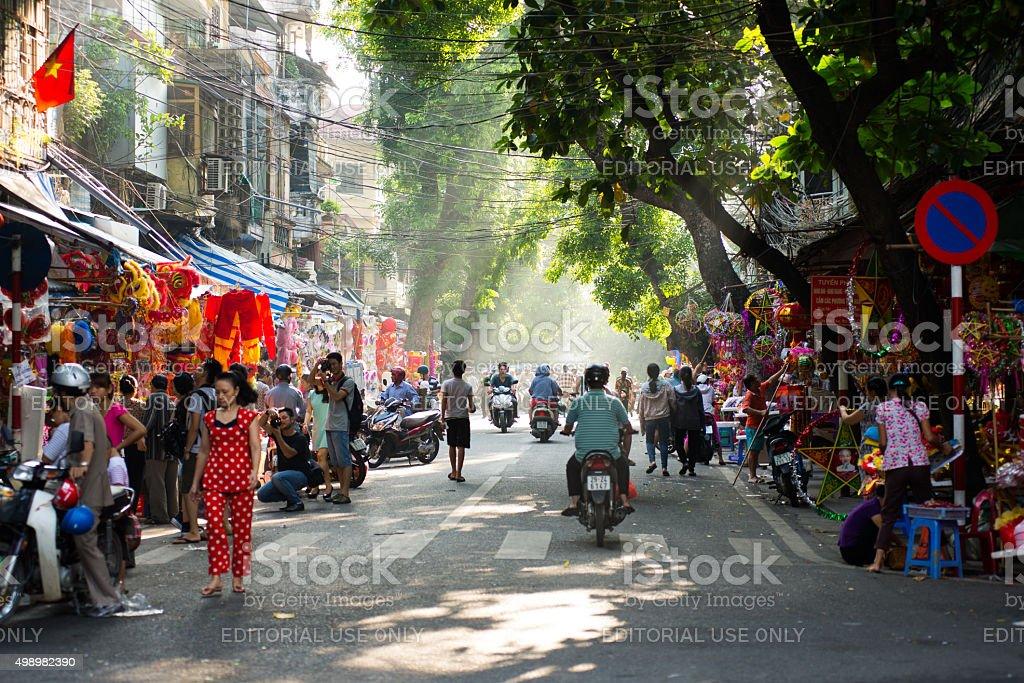 Hanoi town street in early morning. stock photo
