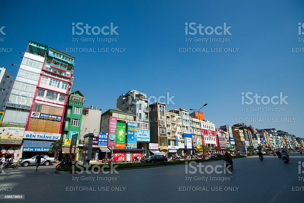 Hanoi town street in sunny day in Vietnam. stock photo