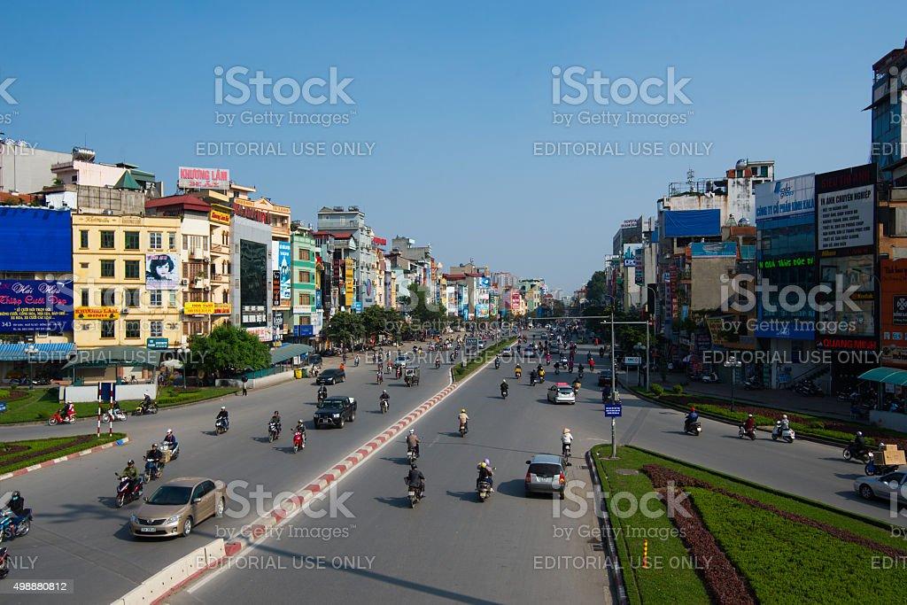 Hanoi town street in sunny day stock photo