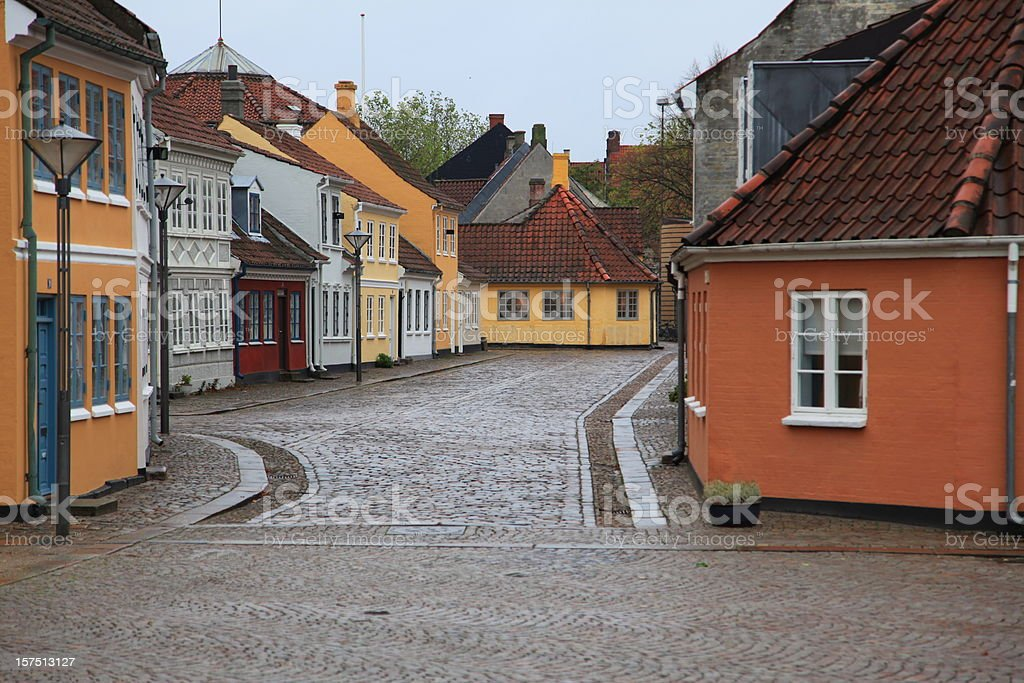 Hans Christian Andersen House Odense on a rainy day stock photo