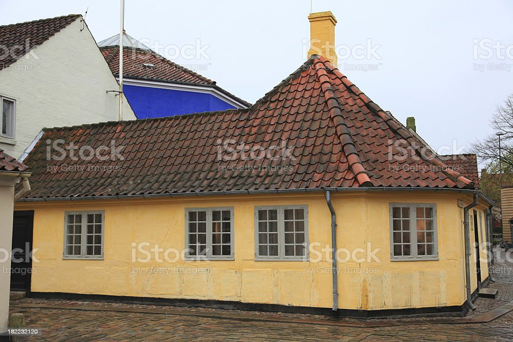 Hans Christian Andersen House Odense on a rainy day royalty-free stock photo