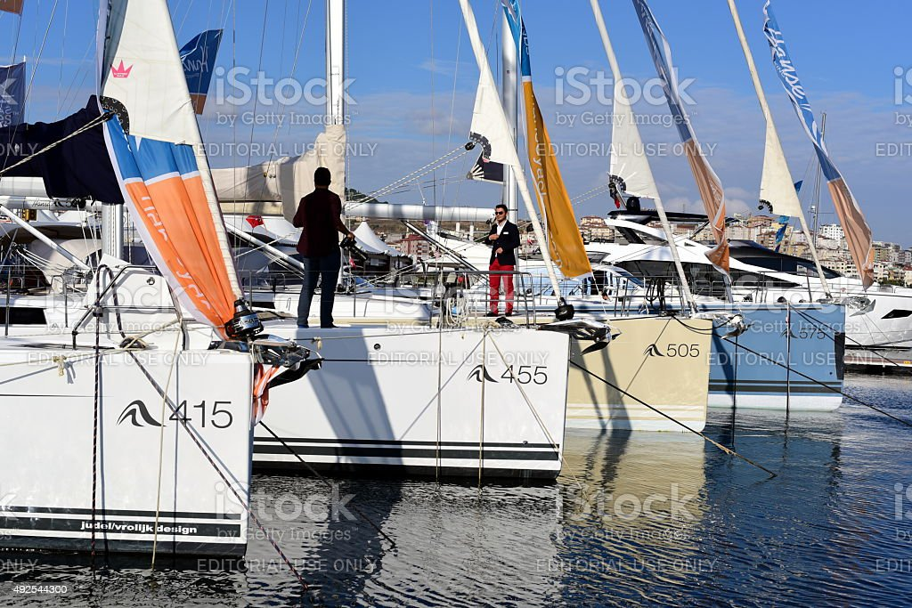 Hanse Yachts at Istanbul Boat Show 2015 stock photo