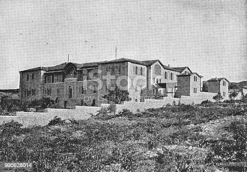 Hansen House leprosy hospital in Jerusalem, Israel. Vintage halftone photo etching circa late 19th century.