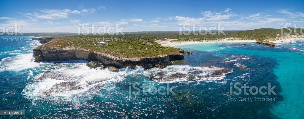 Hanson Bay coastline aerial panorama. Kangaroo Island, South Australia stock photo