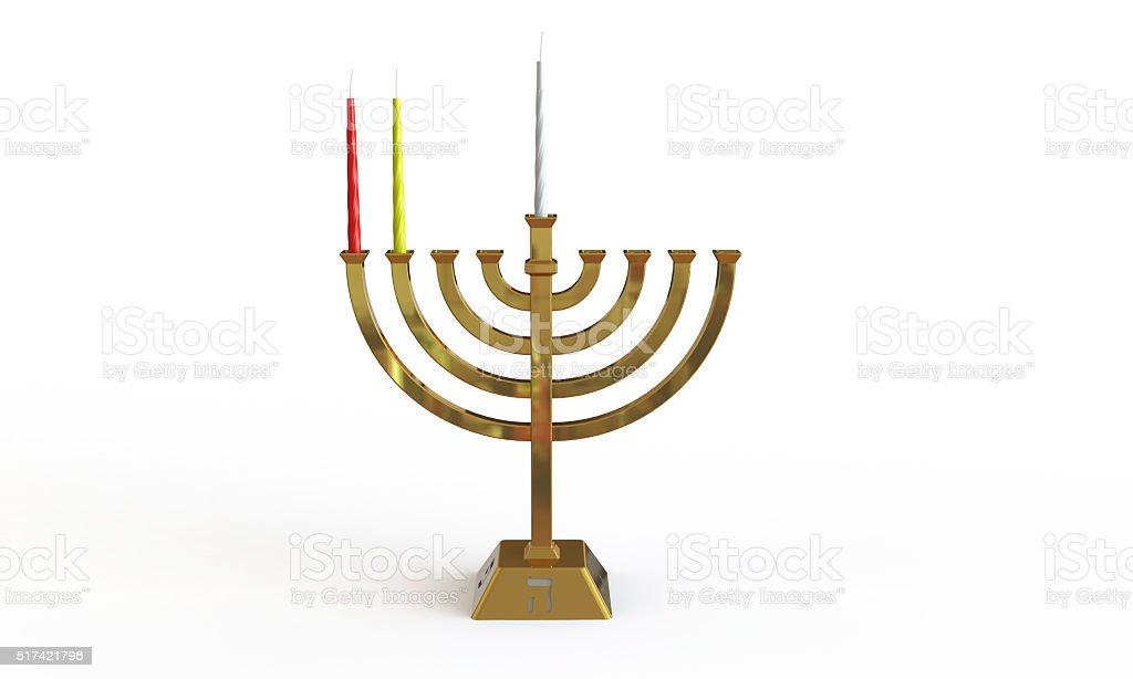 Hanuka menorah and candles isolated on white stock photo