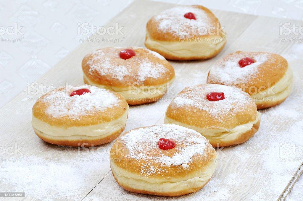 Hanukah doughnuts, sufganiya stock photo