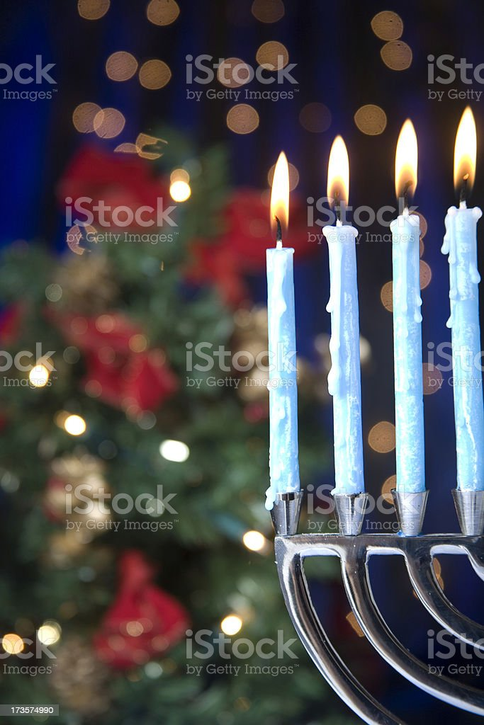 Hanukkah and Christmas stock photo