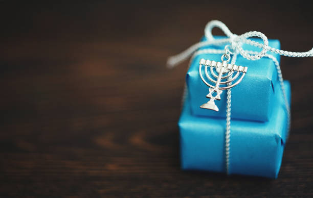 Hanukkah Background with Gifts stock photo