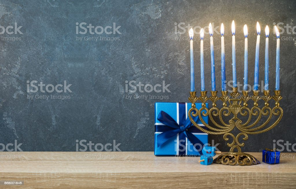 Hanukkah celebration with menorah stock photo