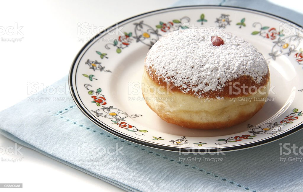 Hanukkah donut- sufgania stock photo
