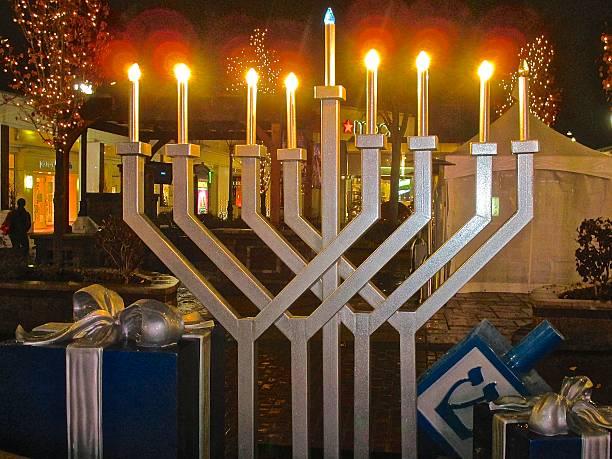 Hanukkah electric menorah at outdoor mall stock photo