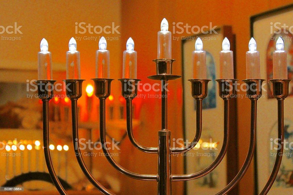 Hanukkah - Festival of Lights electric menorah lights stock photo