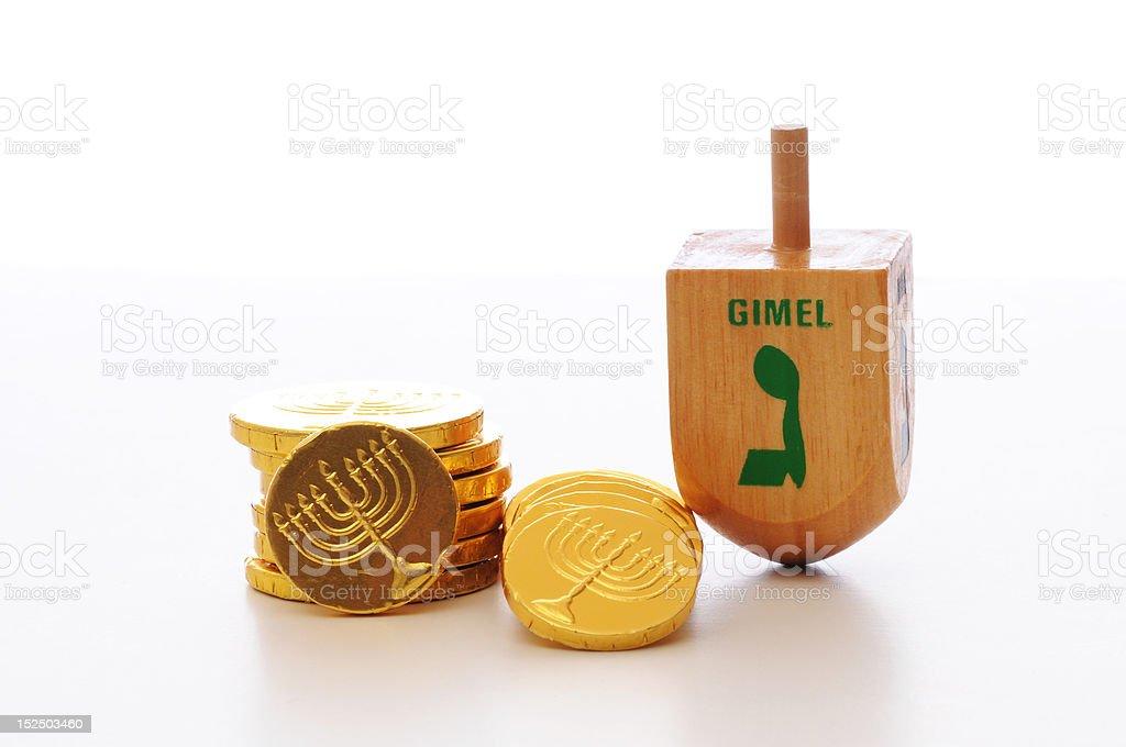 Hanukkah Gelt and Dreidel stock photo