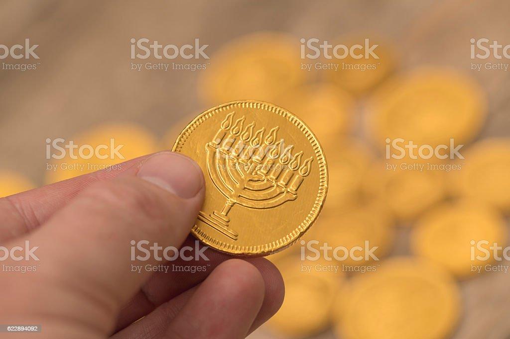 Hanukkah Gelt Chocolate Coins stock photo