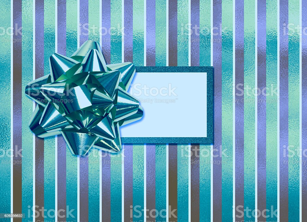 Hanukkah gift with blank tag stock photo