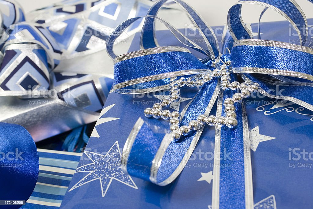 Hanukkah Gift with blue bow stock photo